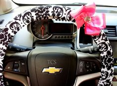 Steering wheel cover for wheel car accessories damask, black, pink, bow $22 www.etsy.com/shop/TurtleCoveStudio