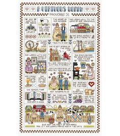 Janlynn A Virtuous Woman Counted Cross Stitch Kit - x - 14 Count - Aida Cloth - Cotton Floss - Needle - Graph - Instructions Cross Stitch Samplers, Counted Cross Stitch Patterns, Cross Stitch Embroidery, Cross Stitches, Learn Embroidery, Hand Embroidery Patterns, Embroidery Designs, Embroidery Kits, Cross Stitch Pattern Maker