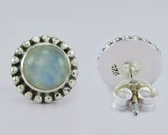 925 Sterling Solid Silver Rainbow Moonstone Stone Stud Earring s.9 mm SS-102