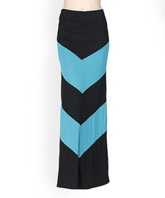 This 42POPS Teal & Black Chevron Color Block Maxi Skirt by 42POPS is perfect! #zulilyfinds