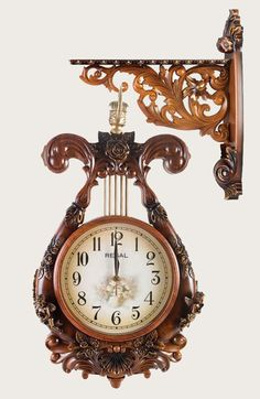 Carved wood clock
