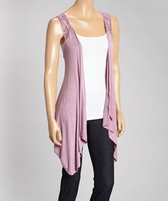 Purple Crochet Sidetail Open Vest by SR Fashions #zulily #zulilyfinds