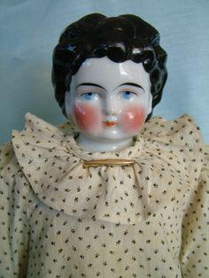 "Antique German 20"" China Head Doll Fab Original Calico Dress Underclothes & Body"