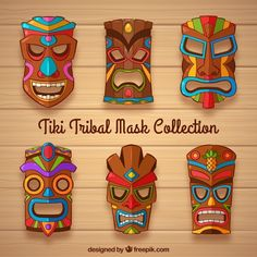 Free Collection of tiki mask with colorful details SVG DXF EPS PNG - Cutting file Luau Theme Party, Hawaiian Party Decorations, Hawaiian Luau Party, Hawaiian Tiki, Tiki Party, Surf Vintage, Tiki Statues, Art Du Monde, Tiki Totem