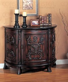Antique Cherry Wood Cabinet with Three Doors Black Marble Top | New $899 SALE $625.33 FRIENDS DISCOUNTED PRICE $469.00