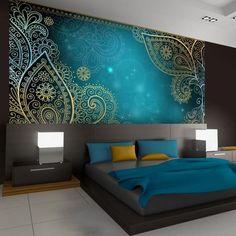 Modern minimalist hotel room 8 interior design with small for Tapete orientalisch turkis