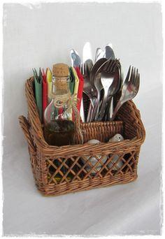 Купить Корзина для столовых приборов - коричневый, плетеная корзина, для дома и интерьера, для кухни, уютная кухня