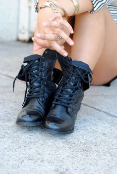 Women's Lace Up Military Army Combat Riding Fold Over Boots Shoes Wild Diva | eBay