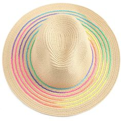 Rainbow Brim Fedora Straw Hat (92 DKK) ❤ liked on Polyvore featuring accessories, hats, straw hats, rainbow hat, brim fedora hat, straw fedora hat and brimmed hat