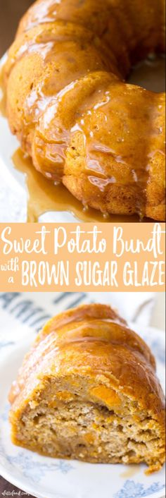 This easy bundt cake recipe is full of all the flavors of fall! Packed with brown sugar, sweet potato, and sweet spices, this Sweet Potato Bundt Cake with a Brown Sugar Glaze is sure to be a fall dessert favorite or even a new Thanksgiving dessert staple! Sweet Potato Pound Cake, Potato Cakes, Sweet Potato Recipes, Potato Pie, Glaze For Cake, Bundt Cake Glaze, Muffins, Brown Sugar Glaze, Chocolate Bundt Cake