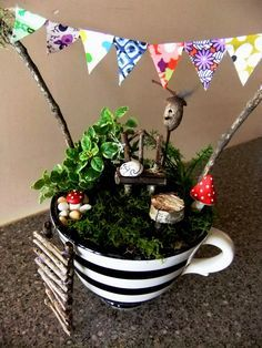 Recycle unused, mismatched cups & saucers. Great for hostess gifts, take away dinner party favors, garden party, wedding shower, birthday, etc.This, that and everything inbetween: Another mini garden