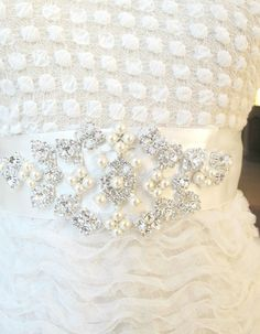 Bridal Belts with Pearls Rhinestones Bridal Sashes by gebridal, $45.00