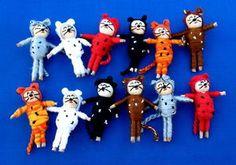 Kitty Worry Dolls, a take on the tiny Guatemalan worry dolls ♥♥♥♥