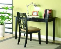 Fine home office to be complimented with wood writing desk in black with drawers. Shop for black wood home office desk with drawers and padded upholstered chair. Desk And Chair Set, Desk Set, Table Desk, Desk Chair, Wood Table, Furniture Office, Home Office Desks, Furniture Ideas, Office Chairs