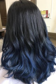 Awesome 30 Stylish Ideas for Blue Black Hair - Extremely Fancy . - - - Awesome 30 Stylish Ideas for Blue Black Hair - Extremely Fancy . Light Blue Hair, Dyed Hair Blue, Hair Color For Black Hair, Cool Hair Color, Denim Blue Hair, Ash Blue Hair, Blue Tips Hair, Weird Hair Colors, Dyed Hair