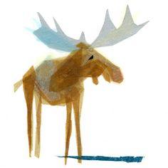 Heathcliff Moose  Animal Art Print van TinyFawn op Etsy, $18.00
