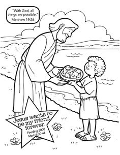 """""""Jesus Feeds the 5,000"""" (Mark 6:30-44) - pinner has nice coloring pages pinned for """"Jesus wants to be my friend forever"""""""