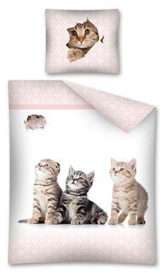 Biała pościel do pokoju dziecka w kotki
