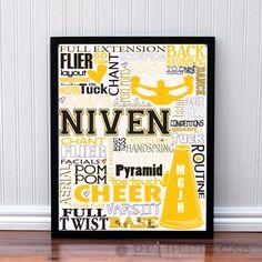 Custom Cheer Decor Cheerleading Personalized  Wall Art  Team Typography Print - 8 x 10. $18.00, via Etsy.