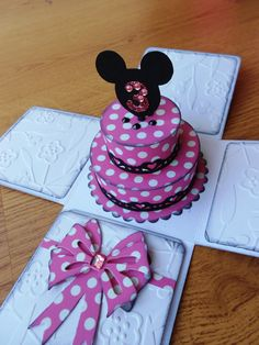 Minnie inspired Birthday Cake Card /  Party Invitation - Exploding box card