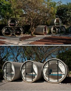 Few living spaces go so far as to even eliminate the flat surface of the floor, but when you're building little hotel pods into concrete pipes, there's just no way around it. The Tubo Hotel in Mexico consists of stacked, reclaimed pipes that have been fitted with beds for low-cost, high-kitsch-factor lodging. Designed by T3arc Architecture, the hotel has 20 rooms with panoramic views of the Sierra del Tepozteco