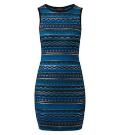 Bodycon dresses are a must have evening staple. Keep it casual with this foil aztec print number - add black ankle strap heels to finish.- All over aztec print- Black trim- Round neck- Sleeveless design- Bodycon fit- Stretch jersey fabric- Dress length: 34