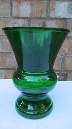 vintage cogwheel green glass | Antique Napco Green Glass Vase Vintage by BuxtonDesignStudio, $10.00