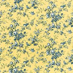 Thibaut Toile Portfolio - Isabelle - Fabric - Blue on Yellow
