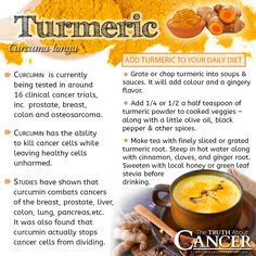 Turmeric; to eat For Cancer