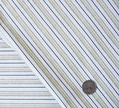 1 Yard Quilting Cotton Designer Fabric, Khaki and Blue Victorian Stripe Pattern on white. $4.95, via Etsy. Victorian Fabric, Stripe Pattern, Fabric Design, Muse, Quilting, Yard, Unique Jewelry, Handmade Gifts, Modern