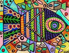 Wild Tribal Flower Fish ~ by Sandra Silberzweig