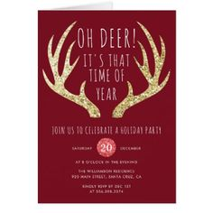 Deer Antlers Christmas Holiday Party Card - diy individual customized design unique ideas