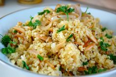 Lemon Bulgur with Almonds & Shallots --would also be great as a cold salad
