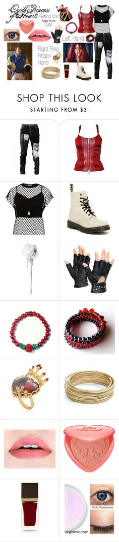 """Disney Descendants: Getting Mal Ready for her Date: Quill: Princess of Hearts"" by e-auradon on Polyvore featuring Any Old Iron, Versace, River Island, Dr. Martens, Dolce&Gabbana, Design Lab, Too Faced Cosmetics and Tom Ford"