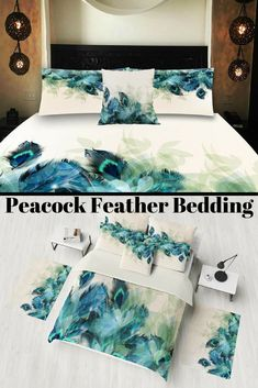 Peacock Feather Bedding , Duvet Cover or Comforter, Twin Full, Queen, King, Rug, Throw Pilllow Options  £22.79+ plus shipping  #affiliate #peacock #christmasgifts
