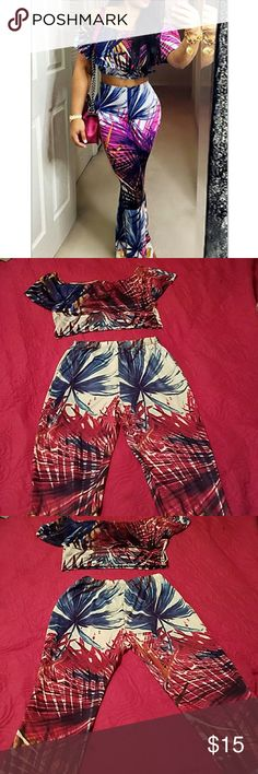 Crop top matching set Stretchy yet cute crop top flare leg set!  Great for summer time cookout or a casual day date!   READ CAREFULLY:  Tags are marked XL however it would fit best on a size 10/12.  Brand new and unworn! N/A  Tops Crop Tops
