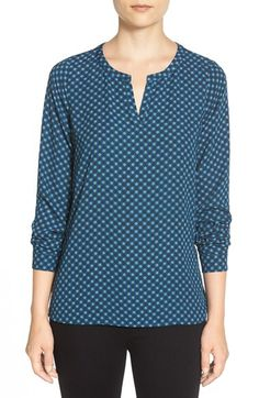 Pleione PleionePleat Back Split Neck Top available at #Nordstrom