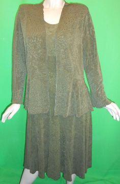 $21.59 & Free Shipping! Caribe USA Size X-Large Olive Green Stretchy Sleeveless Dress W/Peplum Jacket #CaribeUSA #TeaDress #Casual