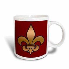3dRose Large Black and Gold Fleur de lis on maroon background Christian Symbol, Ceramic Mug, 11-ounce