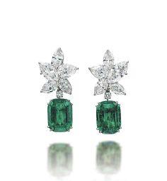 A pair of emerald and diamond earrings #christiesjewels