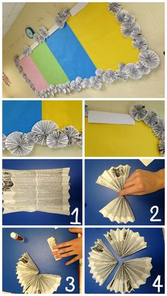 "Super cheap way to decorate your classroom! I made a border for my bulletin boards using found or upcycled paper (books being recycled or old newspaper works great!). Recycle an old magazine, book, or dictionary to create an interesting bulletin border for your classroom. 1. Fold paper accordion-style. (Use different page sizes to vary the size of the circle). 2. Pinch the middle of the page. 3. Fold page over and glue. 4. Once you have 3 ""triangles"" folded, glue the three together. Once…"