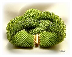 Beaded green seed bead cuff bracelet, Right Angle Weave