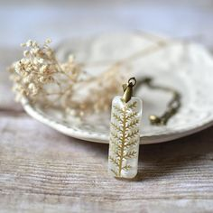 Fern Necklace Resin jewelry pressed leaf nature necklace statement necklace natural history necklace on Etsy, $30.00