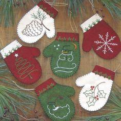 Mittens Felt Applique Christmas Ornaments Kit Rachel's of Greenfield 633162005080 | eBay