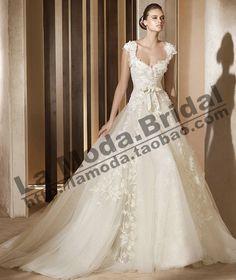 高级婚纱礼服定制 PRONOVIAS 奢华手工蕾丝定制 双肩包袖 LMP0300