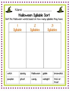 Halloween words syllable sort! One of 22 pages in this second grade Halloween pack that is Common Core Aligned and on sale for only 2.70!