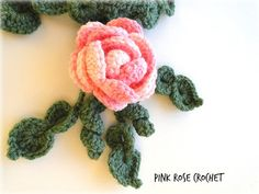 PINK ROSE CROCHET : Cachecol Pink Rose Crochet leaf and flower scarflette or collar