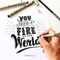 You bring a fire to the world from the good vibe song from Duke Dumont ~ Ocean drive! #lettering #handlettering #paperfuel