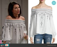 Steffy's white embroidered off-shoulder top on The Bold and the Beautiful.  Outfit Details: https://wornontv.net/58934/ #TheBoldandtheBeautiful