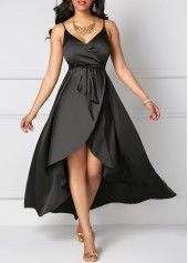 Black Asymmetric Hem Open Back Maxi Dress on sale only US$33.95 now, buy cheap Black Asymmetric Hem Open Back Maxi Dress at liligal.com